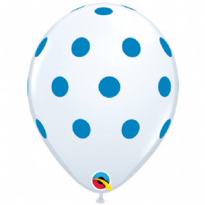 Blue Polka Dots on White Latex Balloons | Free Delivery